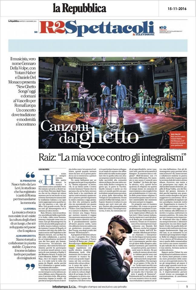 New ghetto songs at RomaEuropa festival and Nuova Consonanza